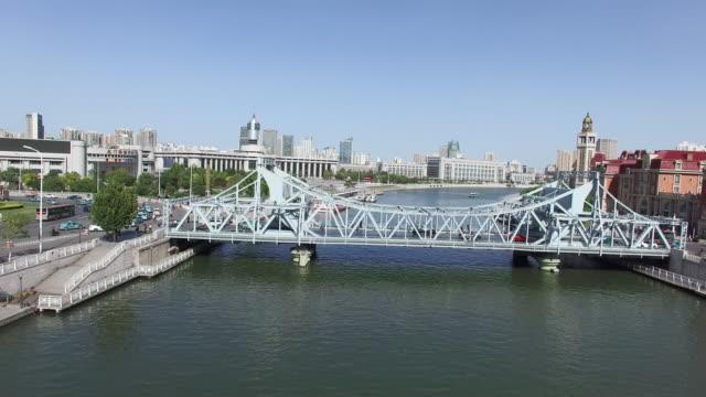 steel bridge and modern buildings in midtown of modern city - stainless steel stock videos & royalty-free footage