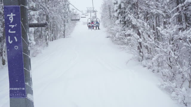 steel cable lift in snow - 秋田県点の映像素材/bロール