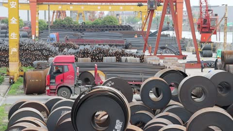 steel coils are seen at a steel logistics storage and transportation terminal along the beijing-hangzhou grand canal on april 10, 2021 in changzhou,... - steel stock videos & royalty-free footage
