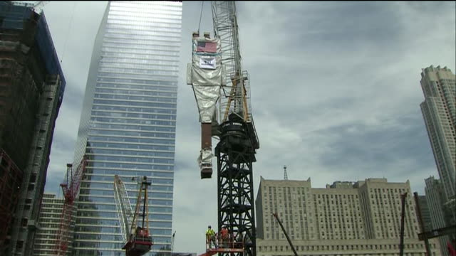 steel column being moved by crane at world trade center - column stock videos & royalty-free footage
