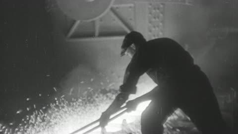 montage steel furnace workers tending molten metal / united kingdom - steel stock videos & royalty-free footage