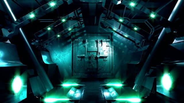 vídeos de stock, filmes e b-roll de hd: aço portão abertura do túnel de ficção científica - entrando
