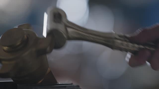 slo mo cu steel hammer hitting metal valve repeatedly - strike industrial action stock videos & royalty-free footage