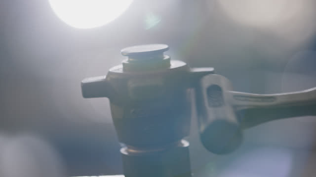 slo mo cu steel hammer hitting valve to loosen it - strike industrial action stock videos & royalty-free footage