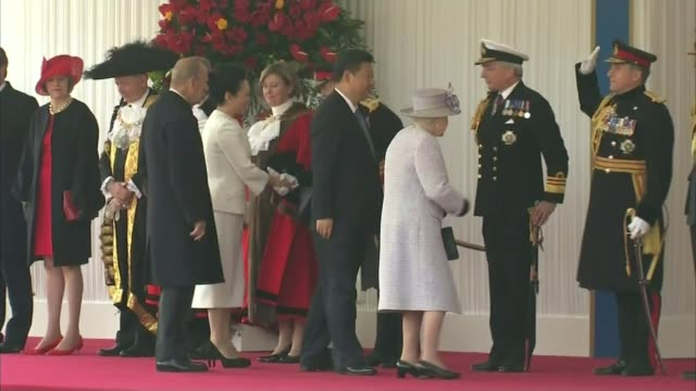 steel job losses in scunthorpe and lanarkshire london ext queen elizabeth ii introducing xi jinping to members of the armed forces and dignitaries... - state visit stock videos & royalty-free footage