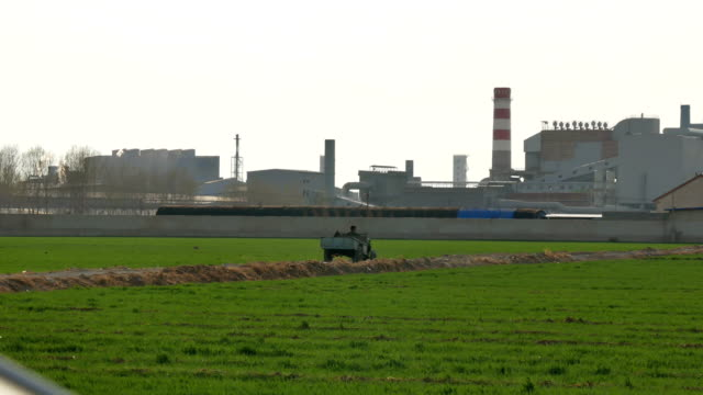 Steel mill and surrounding wheat fields