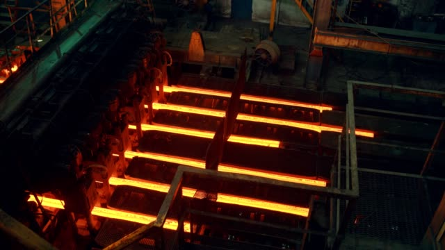 steel mill factory - iron bar after molding - steel mill stock videos & royalty-free footage