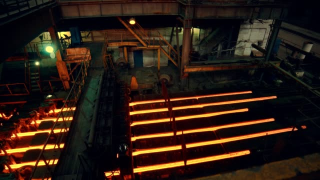 steel mill factory - iron bar after molding - furnace stock videos & royalty-free footage