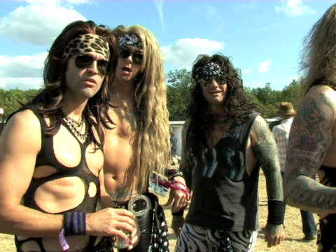 steel panther satchel michael star lexxi foxxx and sticks on playing the largest gig of their career and the records they intend to break at the... - satchel stock videos & royalty-free footage