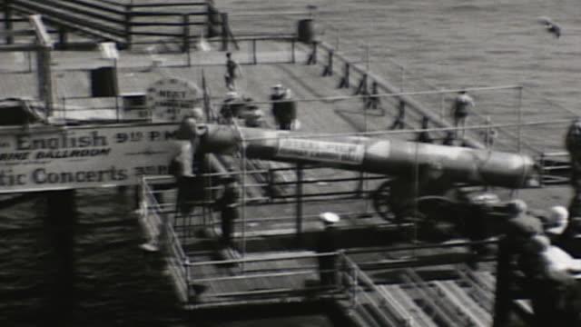 1929 steel pier human cannon ball - boardwalk stock videos & royalty-free footage