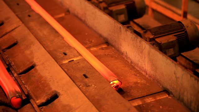 steel pipe on the conveyor - hd 25 fps stock videos & royalty-free footage