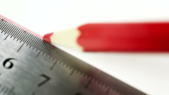 steel ruler and red wood pencil - instrument of measurement stock videos & royalty-free footage