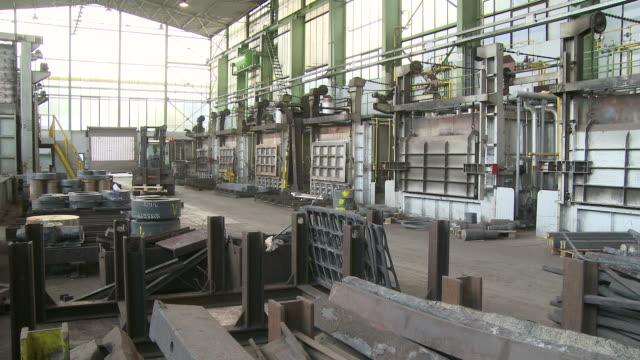 ms steel works at factory / remscheid, north rhine westphalia, germany   - halle gebäude stock-videos und b-roll-filmmaterial