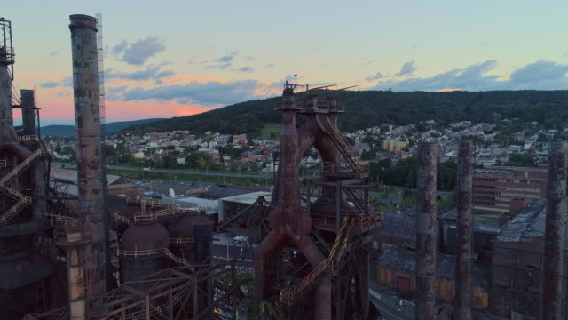 steelstacks - the historic steel plant converted into the modern cultural center in bethlehem, pennsylvania. aerial drone video with the panoramic-orbit camera motion. - bethlehem pennsylvania stock videos & royalty-free footage