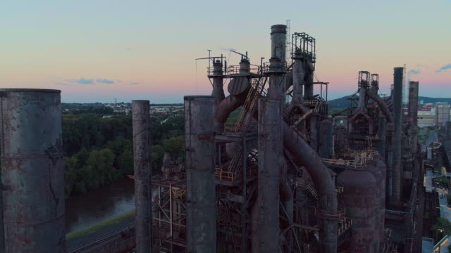 steelstacks - the historic steel plant converted into the modern cultural center in bethlehem, pennsylvania. aerial drone video with the orbit camera motion. - bethlehem pennsylvania stock videos & royalty-free footage