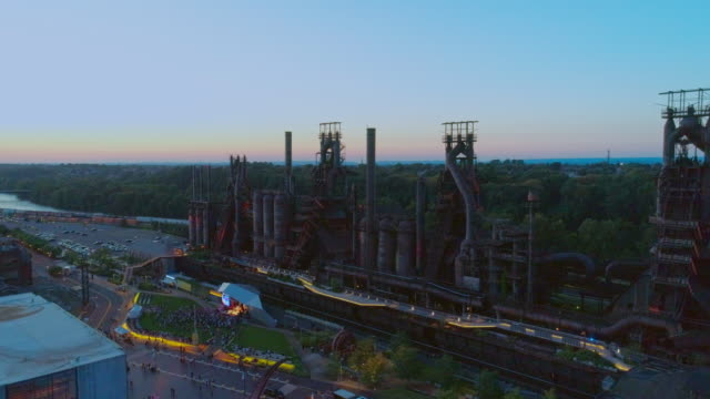 steelstacks - the historic steel plant converted into the modern cultural center in bethlehem, pennsylvania. aerial drone video with the static camera. - bethlehem pennsylvania stock videos & royalty-free footage