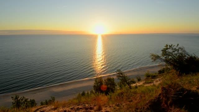 Steep coast at sunrise, Langenberg, Bansin, Usedom, Baltic Sea, Western Pomerania, Germany