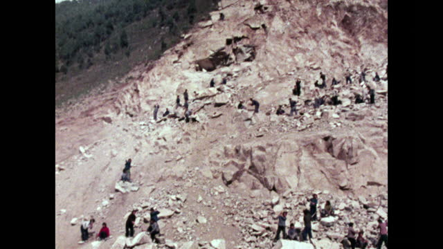 tu steep mountain being excavated for reservoir construction; 1973 - maoism stock videos & royalty-free footage