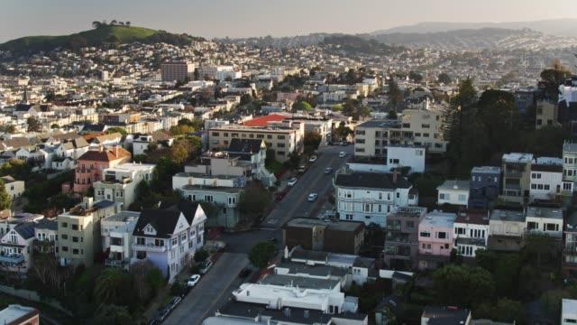 steep residential street in san francisco - aerial - establishing shot stock videos & royalty-free footage