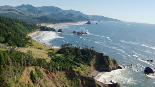 ws aerial steep rugged shoreline haystack rock in distance / oregon, united states - haystack rock stock videos & royalty-free footage