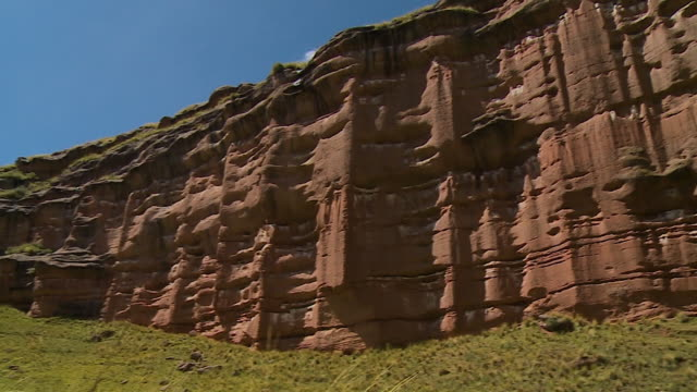 steep sandstone cliffs in rural andes, peru - sandstone stock videos & royalty-free footage