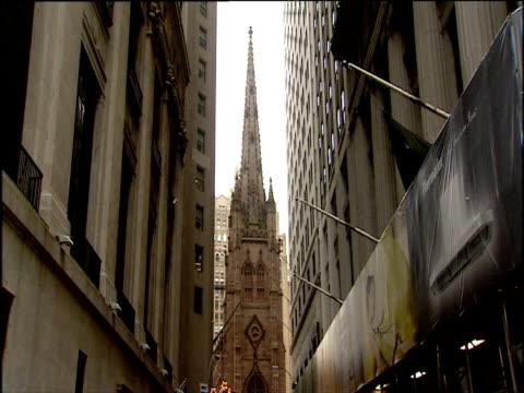 steeple of trinity church wall street manhattan - steeple stock videos & royalty-free footage