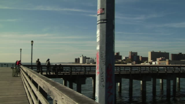 ws, pan, steeplechase pier and parachute jump tower, coney island, new york city, new york, usa - coney island brooklyn stock videos and b-roll footage