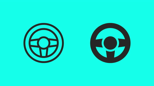 steering wheel icons - vector animate - steering wheel stock videos & royalty-free footage