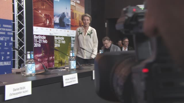 stefan arndt emma thompson brendan gleeson daniel bruehl at 'alone in berlin' press conference 66th berlin international film festival at grand hyatt... - emma thompson stock videos and b-roll footage