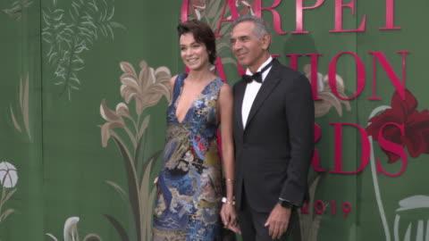 stefania rocca, carlo capasa at green carpet fashion awards on september 22, 2019 in milan, italy. - award stock videos & royalty-free footage