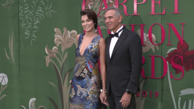stefania rocca, carlo capasa at green carpet fashion awards on september 22, 2019 in milan, italy. - utmärkelse bildbanksvideor och videomaterial från bakom kulisserna