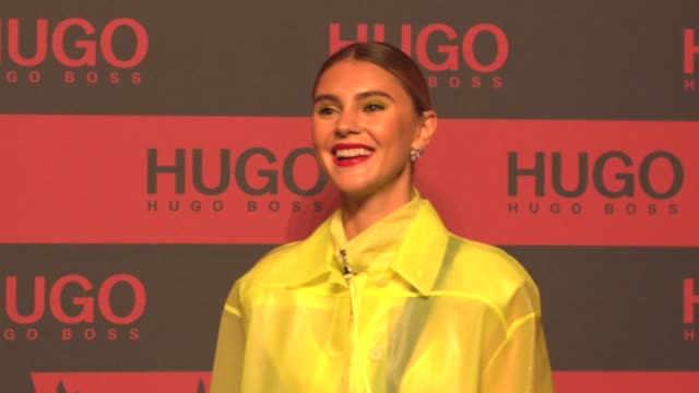 stefanie giesinger at the hugo launch party with live performance by liam payne during the berlin fashion week spring/summer 2020 at wriezener karree... - liam payne stock videos and b-roll footage