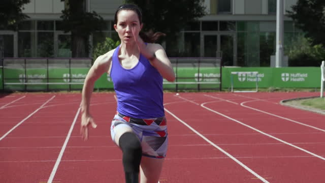 stefanie mcleod reid, paralympian runner, training on the track - persons with disabilities stock videos & royalty-free footage