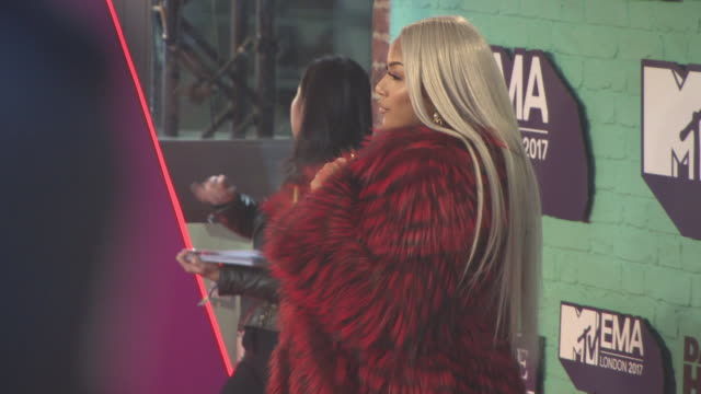 stefflon don at mtv ema awards at the sse arena, wembley on november 12, 2017 in london, england. - wembley arena stock videos & royalty-free footage