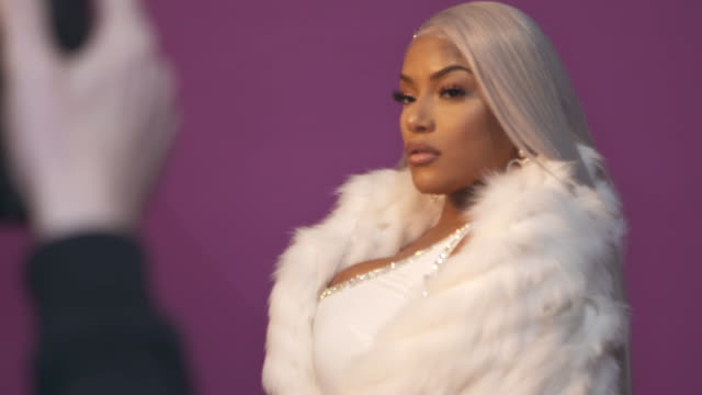 stefflon don poses in the studio during the mtv emas 2017 held at the sse arena, wembley on november 12, 2017 in london, england. - wembley arena stock videos & royalty-free footage