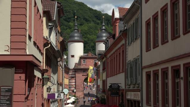 steingasse and brueckentor in old town, neckar river, heidelberg, baden-wurttemberg, germany, europe - neckar river stock videos & royalty-free footage