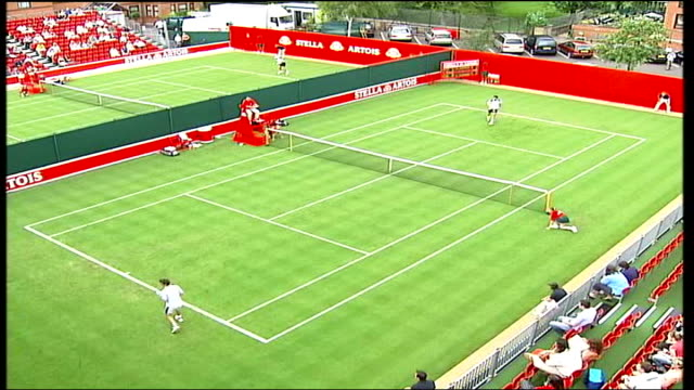 stella artois tournament: greg rusedski interview; itn england: london: queen's club: int greg rusedski interviewed sot - great to be back on the... - international tennis federation stock videos & royalty-free footage
