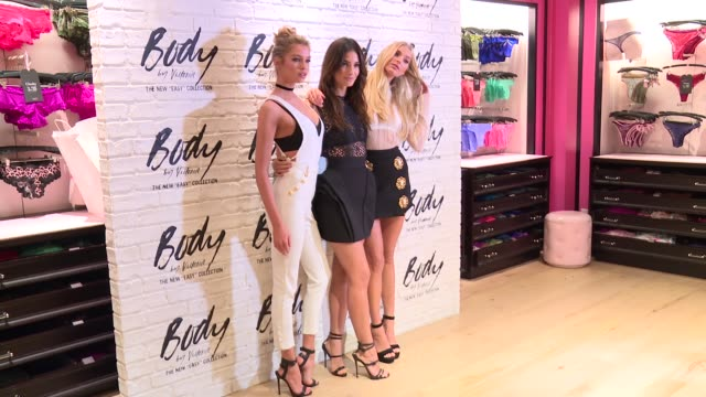 clean stella maxwell lily aldridge elsa hosk at victoria's secret easy collection launch at victoria's secret soho on july 26 2016 in new york city - launch event stock videos & royalty-free footage