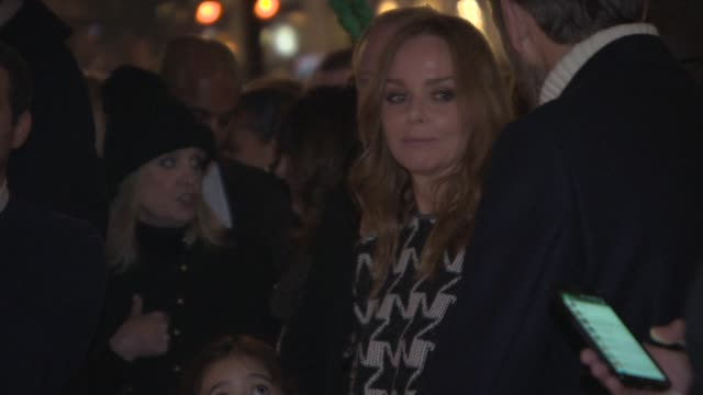 stella mccartney waits for the lights to be turned on at stella mccartney store christmas lights at stella mccartney on november 26 2014 in london... - stella mccartney marchio di design video stock e b–roll
