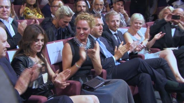 Stellan Skarsgard Charlotte Gainsbourg Uma Thurman at 'Nymphomaniac Volume 1 Director's Cut' Red Carpet 71st Venice International Film Festival on...