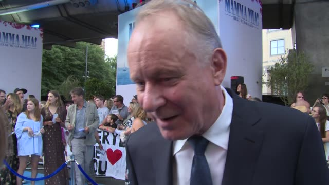 vídeos de stock, filmes e b-roll de stellan skarsgard on returning to the role singing friendship with colin firth and cher at eventim apollo hammersmith on july 16 2018 in london... - colin firth