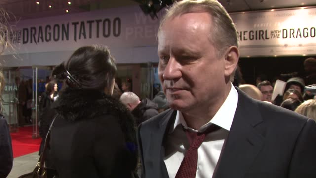 stellen skarsgard on being offered a role in the original film wanting to work with david fincher the social issues it address at the girl with the... - odeon leicester square stock videos and b-roll footage