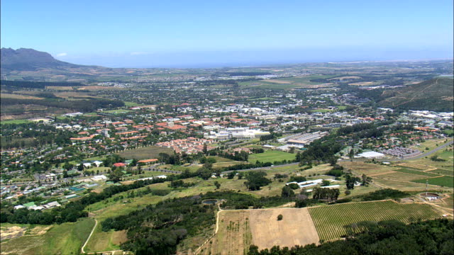 stellenbosch  - aerial view - western cape,  cape winelands district municipality,  stellenbosch,  south africa - stellenbosch stock videos and b-roll footage