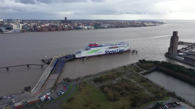 stena line's irish sea ferry stena edda is berthed at the company's river mersey birkenhead terminal on december 14 in liverpool, england. stena... - mersey ferry stock videos & royalty-free footage