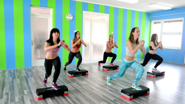 step aerobic - step aerobics stock videos and b-roll footage