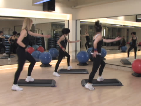 step aerobics class - step aerobics stock videos and b-roll footage