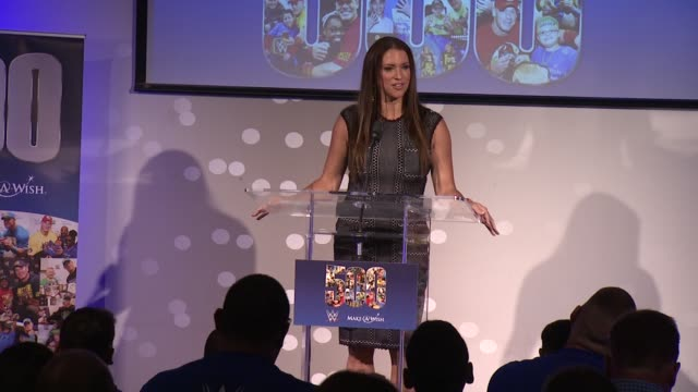 speech stephanie mcmahon discusses wwe's ongoing relationship with the makeawish foundation at dave buster's time square on august 21 2015 in new... - cena stock videos & royalty-free footage
