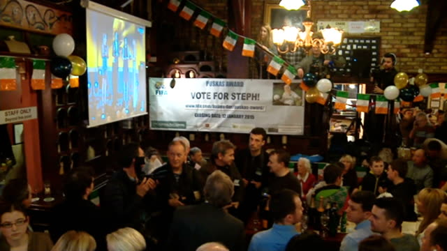 stephanie roche nominated for fifa puskas award republic of ireland dublin customers in crowded sports pub gathered for announcement of fifa puskas... - dublin republic of ireland stock videos & royalty-free footage