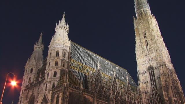 ms, la, stephansdom (st. stephens cathedral) at night, vienna, austria - wien österrike bildbanksvideor och videomaterial från bakom kulisserna
