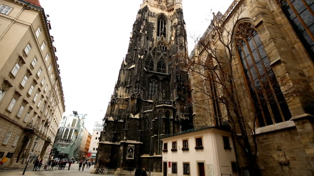 stephansdom with skyline vienna, time lapse - old town stock videos & royalty-free footage